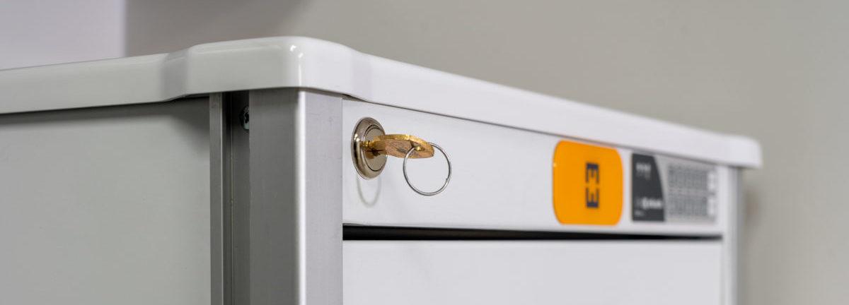 multiple lock options on medical cart