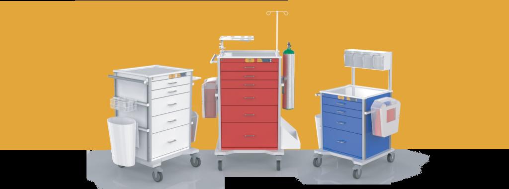 procedure cart, emergency cart and anest cart